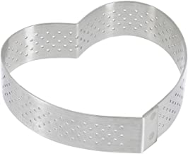 PERFORATED TART RING, Heart, in Stainless Steel, 0.75-Inch high O 3-Inch
