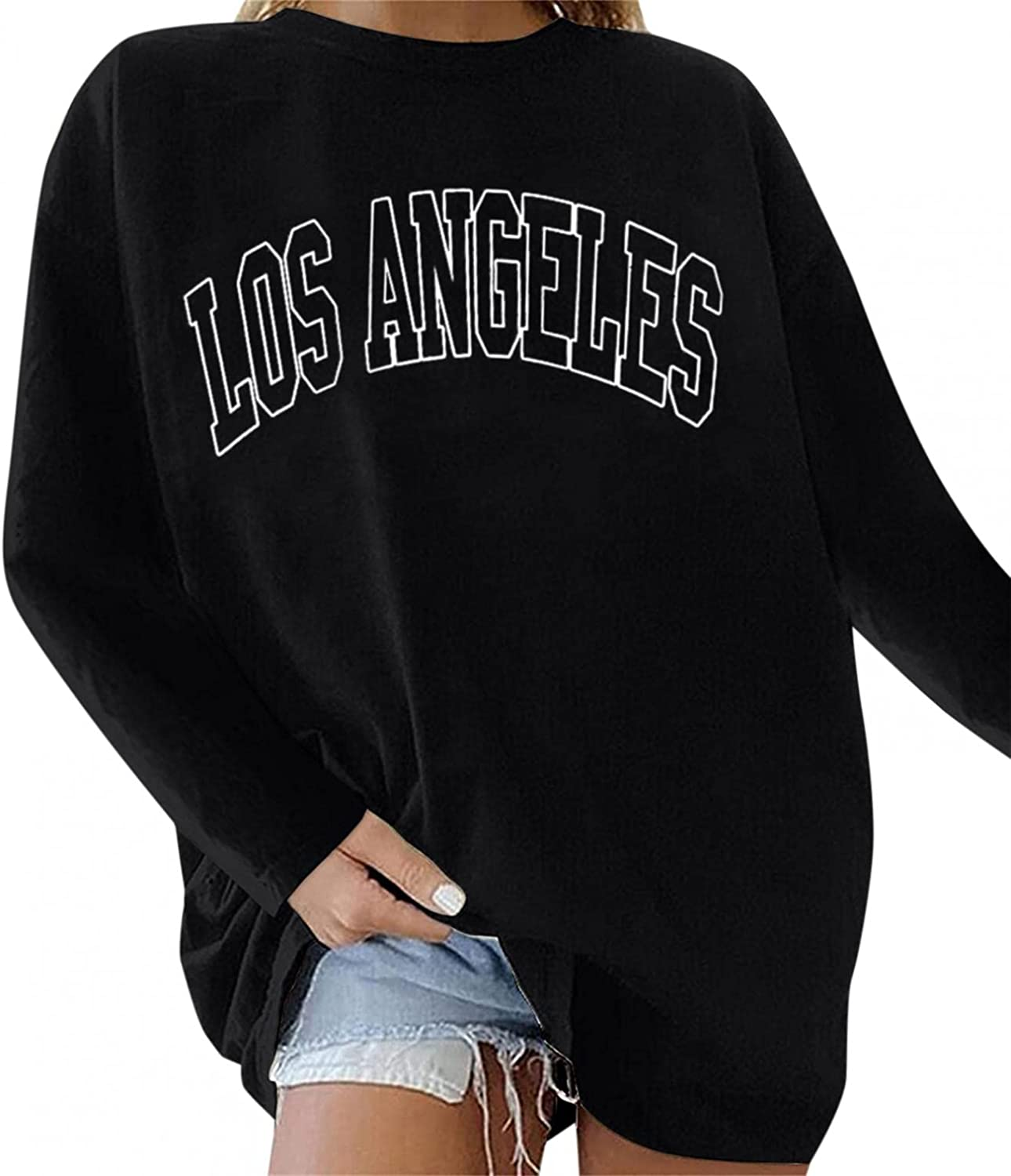 Quality inspection Qisemi Oversized Sweatshirt for Women To Pullover low-pricing Letter Printed