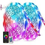 20M Tiras Led Música Bluetooth, TASMOR Tira led RGB 5050 Multicolores, Sincronización con Música, Controlado con Móvil APP, 12V 600 Leds, Luces Led Decorativas para Habitación