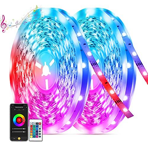 Ruban LED 20M, TASMOR Bande LED 600 LEDs, Led RGB 5050 Bluetooth avec Télécommande, Synchroniser avec Musique, Contrôlé par APP du Smartphone Décor pour Fête Maison Chambre Bar, Mariage