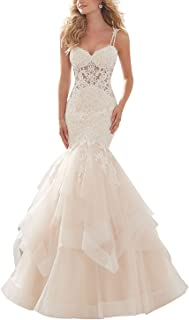 satin lace mermaid wedding dress
