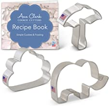 Ann Clark Cookie Cutters 3-Piece Elephant Shower Cookie Cutter Set with Recipe Booklet, Elephant, Umbrella, Cloud