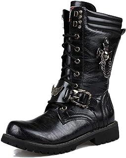 MWyanlan Hommes Noirs Biker Boot High Top Gothique Punk Martin Bottes PU Cuir Veau mi Militaire Boot Armée Tactique Lacent...