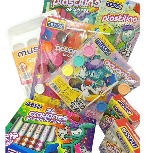 Kit Arte Infantil de Mussa. Estuche para Arte Infantil con Plastilina Crayones Acuarelas Gises Godete. Productos Hechos en México. Kit Exclusivo para E-Commerce