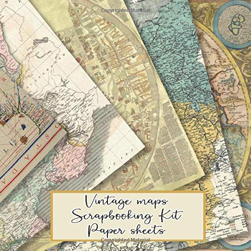 Vintage maps scrapbooking kit paper sheets: Scrapbooking kit in a book for creating your own sketchbooks - Emphera elements for decoupage, ... scrap book albums (Scrap book paper kits)
