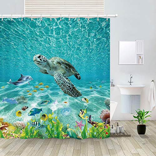 """NYMB Ocean Animals Shower Curtain, Turquoise Seawater Underwater Fantasy Ocean Sand Wolrd with Sea Turtle Dolphin Fish Seaweed Sea Creatures Bathroom Curtain 12PCS Hooks, 69X70 in (69"""" W by 70"""" L)"""