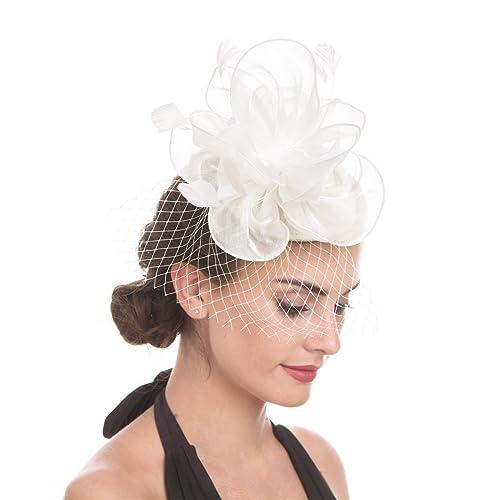 Sinamay Flower Feather Headband Fascinator Wedding Headwear Ladies Race  Royal Ascot Pillbox Wedding Cocktail Tea Party 684efc6b866