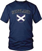 Amdesco Men's Scotland Flag Shield, Scots Scottish Pride T-Shirt
