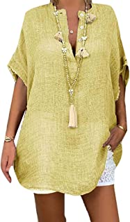 FSSE Womens Solid Color Plus Size Loose Fit Button Down V Neck Short-Sleeve T-Shirt Top Blouse