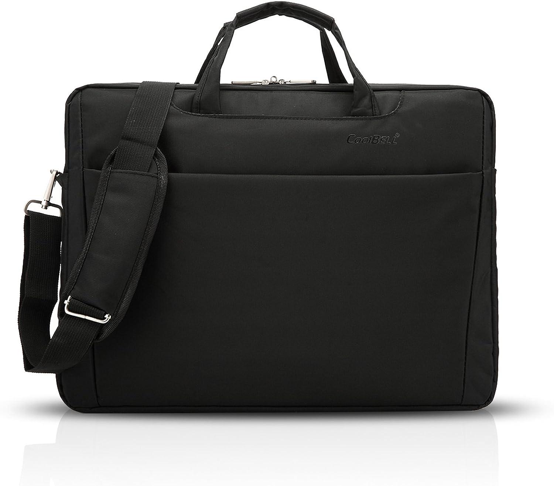 FANDARE Laptop Shoulder Bag Men Business Crossbody Bag Carrying Bag Polyester Black