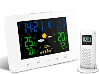 Oritronic Digital Weather Station Wireless Indoor Outdoor Thermometer with Sensor, Large LCD Horizontal Screen, Weather Forecast, Alarm Clock, Temperature Humidity Monitor Gauge Room Hygrometer, White
