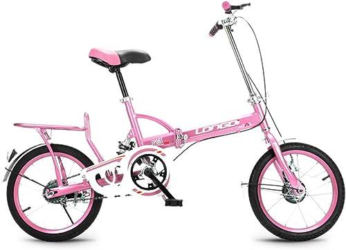 KLEDDP Kinderfürrad 16 Zoll Kid Bike High Carbon Steel Faltrad 4-7 Jahre alte M er und Frauen Single Speed  hock Absorber fürrad, Schwarzblau Rosa Grün (Farbe   Rosa)