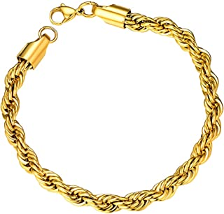 ChainsPro Men/Women Spiga Wheat Chain 3/6/MM, 18/20/22/24/26/28/30 inches, 316L Stainless Steel/18K Gold Plated/Black Colo...