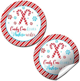 Candy Cane Kisses and Mistletoe Wishes Christmas Thank You Sticker Labels, 40 2