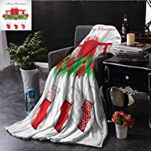 Luoiaax Christmas Bedding Microfiber Blanket Stockings Hanging for Santa Mistletoe Illustration Merry Christmas for All Super Soft and Comfortable Luxury Bed Blanket W70 by L84 Inch Red Emerald White