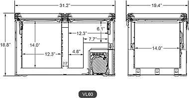 ICECO VL60 Dual Zone Portable Refrigerator with SECOP Compressor, 60 Liters Platinum Compact Refrigerator, DC 12/24V, AC 110-