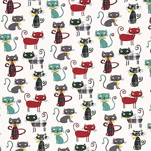 Cretonne Katze 3 – dunkelgrün — Meterware ab 0,5m — STANDARD 100 by OEKO-TEX® Produktklasse I — zum Nähen von Taschen, Kissen/Tagesdecken & Bettwäsche