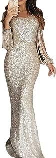 Women Splicing Sequin Long Skirt Evening Dress V-Neck Long Sleeve Tassel Dinner Dress