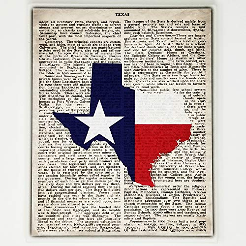 Texas Flag Canvas Wall Decor - 8x10 Decorative TX State Map Silhouette Encyclopedia Art Print - Ready To Hang - Home State Love Handmade Gifts - Lone Star Decorations