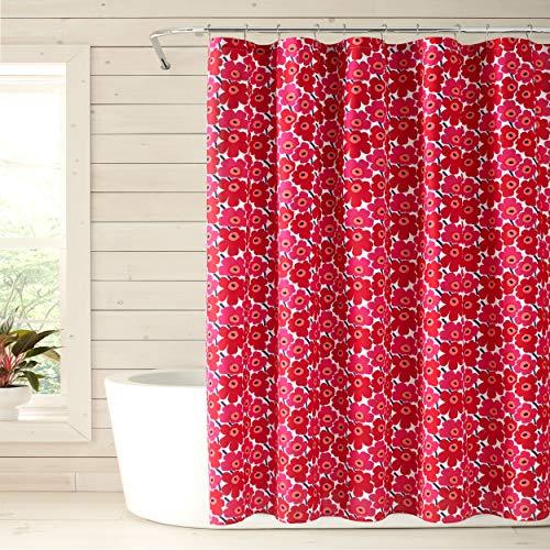 Marimekko Mini Unikko Duschvorhang, Baumwolle, rot, 72 x 72