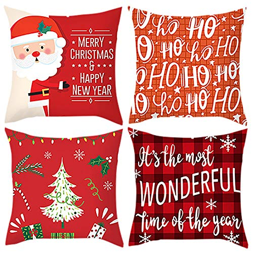 runxinqing 4 PCS Cute Christmas Cartoon Ultra Soft Cushion Covers 18x18 inches Square Cushion Cover Throw Pillow Covers Christmas Home Cafes Bookstores Decor (#B)