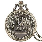 Big Wolf - Reloj de Bolsillo para Hombre, diseño de Lobo, Cuarzo, Hombres