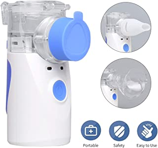Handheld Inhaler, Portable Mini Vaporizer Cool Mist Compressor Humidifier for Adults & Kids, Steam Inhaler for Travel and Home Daily Use (Blue)-Battery Type