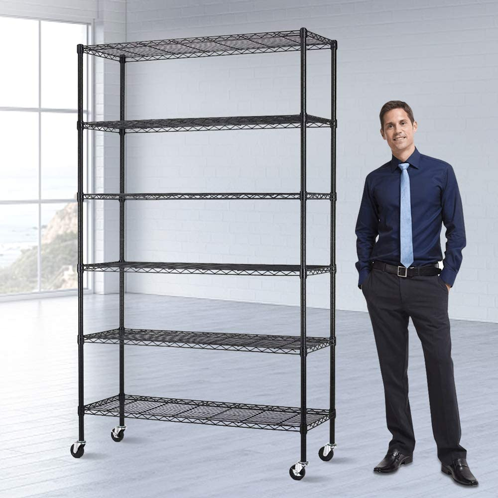 Storage Shelves Heavy Duty Shelving Adjustable 20 Tier Layer Wire Shelving  Unit with Wheels Easy to Assemble Metal Wire Shelf Standing Garage Shelves  ...