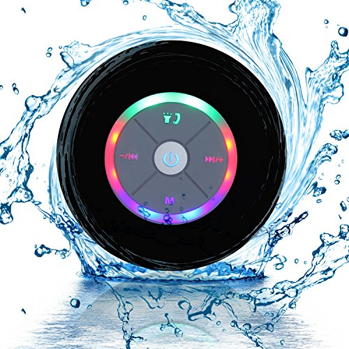 Waterproof Portable Shower Bluetooth 4.0 Speakers Subwoofer by Exkokoro(TM), Colorful LED Effect,...