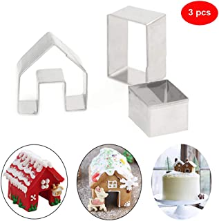 Christmas Cookie Cutters Set 3pcs- 3D Stainless Steel Gingerbread House Cookie Cutter, Chocolate Little House Biscuit Mold Fondant Cake Decorating Holiday DIY Baking Tools
