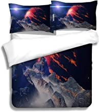 MTSJTliangwan Family Bed Landscape on Alien Moon Orbiting a Gas Giant exoplanet hot Jupiter Class Planet 3 Piece Bedding Set with Pillow Shams, Queen/Full, Dark Orange White Teal Coral