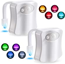 Toilet Night Light Motion Activated LED Night Light 8 Colors Toilet Bowl Nightlight for Bathroom