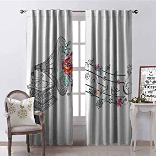 GloriaJohnson Music Shading Insulated Curtain Vintage Gramophone Record Player with Floral Ornament Blossom Antique Soundproof Shade W42 x L63 Inch Grey Black White