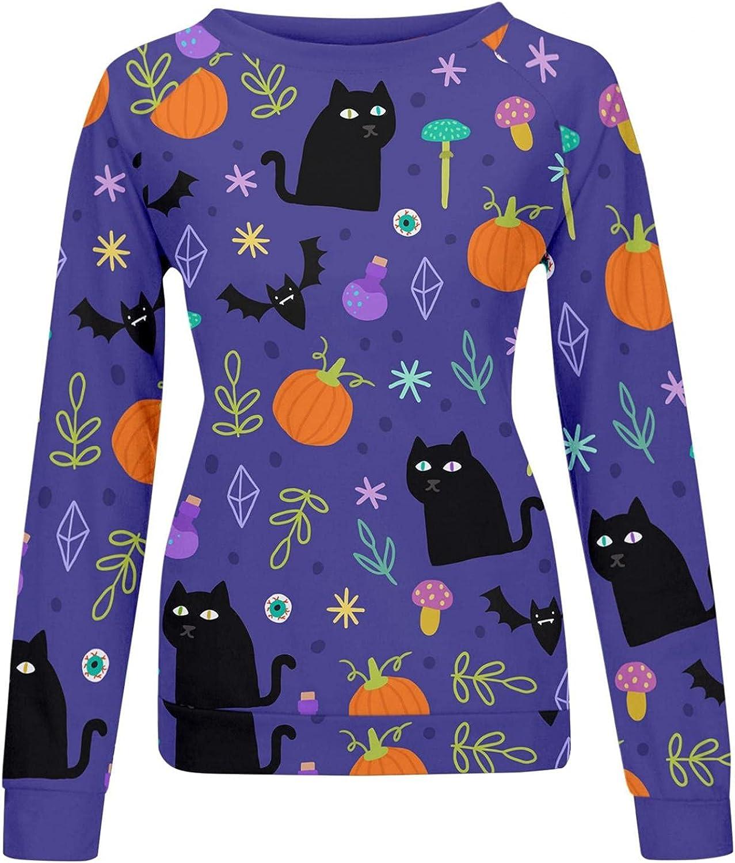 AIHOU Halloween Sweatshirts for Women Pumpkin Bats Graphic Long Sleeve Crewneck Pullover Tops Costumes Sweaters Shirts