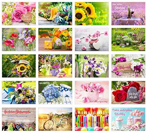 Edition Seidel Set 20 exklusive Premium Geburtstagskarten mit Briefumschlag. Glückwunschkarte Grusskarte Geburtstag Geburtstagskarte Mann Frau Karten Happy Birthday Billet (20359)