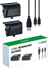 Xbox One Battery Pack Rechargeable, YCCTEAM Xbox One Controller Charger with 2pcs 1200 mAh Rechargeable Batteries for Offical Xbox One/S/X/Elite Controller, Upgrade Integrated Rechargeable Battery