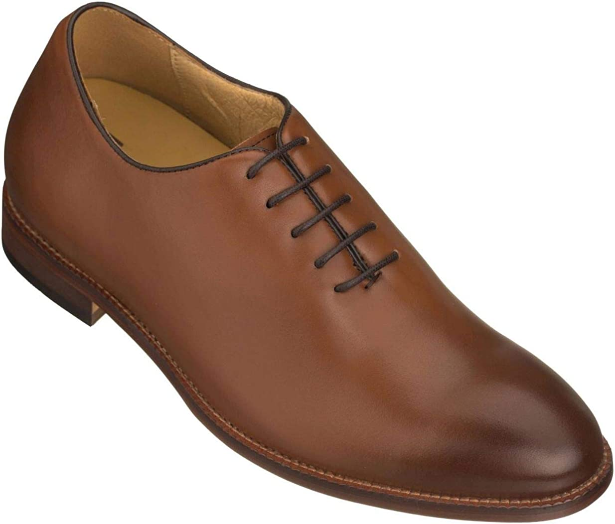 TOTO Men's Invisible Height Increasing Elevator Shoes - Premium Leather Lace-up Formal Oxfords - 2.6 Inches Taller