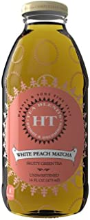 Harney & Sons White Peach Matcha, Fruity Green Tea, Unsweetened, 16 oz Glass Bottles (12 Pack)