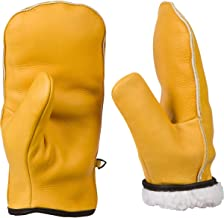 Chopper Mitts, Top-Grain Cowhide Leather, Sherpa Lined Cold Weather Mitten Gloves for Teens, Women, and Men