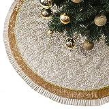Valery Madelyn 91cm Falda del árbol de Navidad con Pierna de Blanco Dorado Decoraciones para árboles de Navidad, Adornos de Navidad, Temática con Bolas Navideñas (No Incluidas)