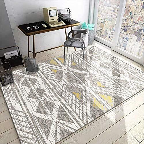 Alfombra Alfombra Comedor Alfombra Antideslizante y Resistente a Las Manchas con diseño geométrico Amarillo grisáceo Resistente a la decoloración Alfombra baño alfombras Entrada 80*150CM