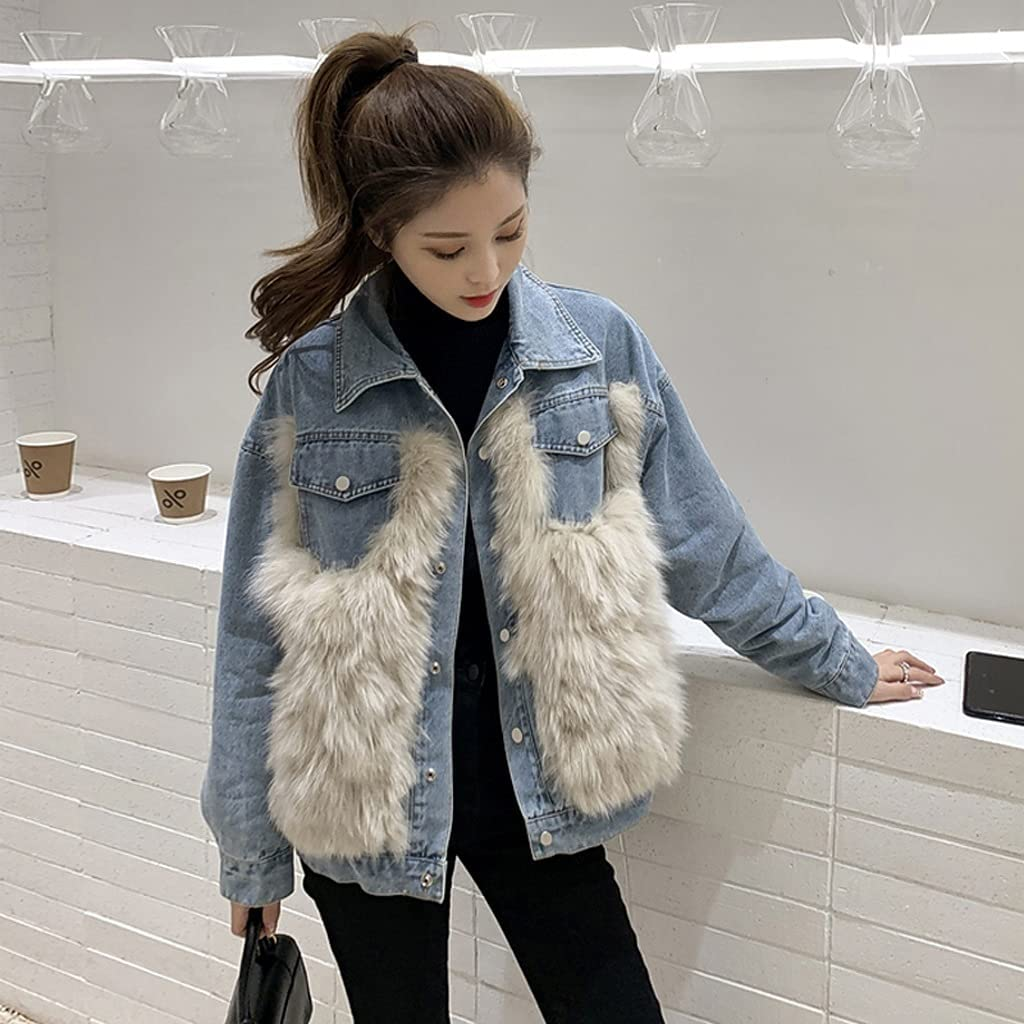 LYYQH Plush Thick Denim Jacket Women Spring and Autumn Short Loose Casual Stitching Jacket (Color : Blue, Size : S Code)