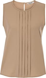 Women's Casual Pleated Round Neck Loose Fit Tank Top