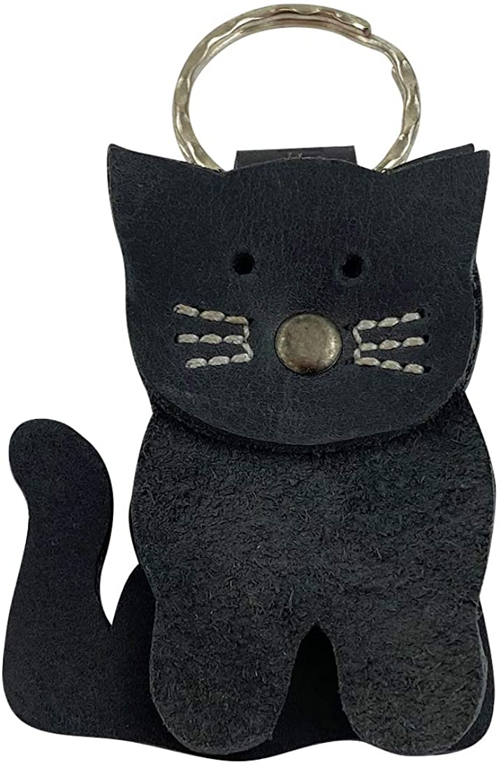 Taco Dog, Stacked Cat Keychain Handmade from Full Grain Leather - Beautiful Rustic Look, Adorable Details, Functional,, Lightweight, Durable - Split Keyring Included - Charcoal Black