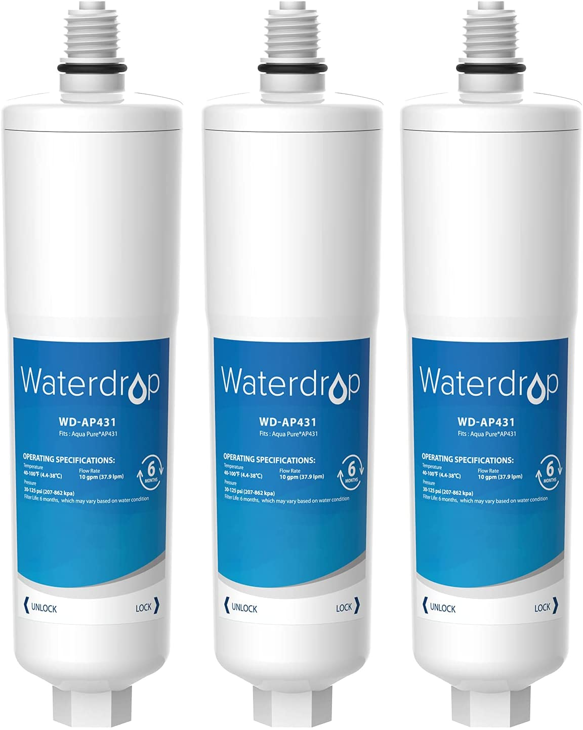 Waterdrop AP431 Cartridge, Replacement for Aqua-Pure AP431 Hot Water Scale Inhibitor for AP430SS, Pack of 3