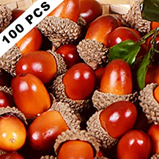 Yarssir 100 Pieces Craft Acorns Artificial Acorn Decor Fake Fruit Props Acorns Decoration Crafting DIY Home Party Wedding Decor Thanksgiving Christmas Festival, 2 Colors(Light Brown-100 Pack)