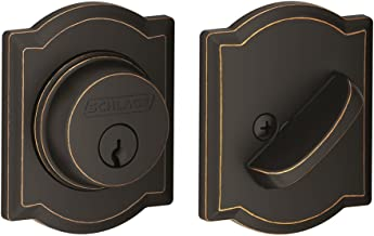 Schlage Lock Company Single Cylinder Deadbolt with Camelot Trim, Aged Bronze (B60 N CAM 716)