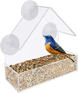 RMENOOR Comedero para Pájaros Acrílico Transparente Ventana de Casa de Pájaros sin Taladro con 3 Ventosas Alimentador De A...