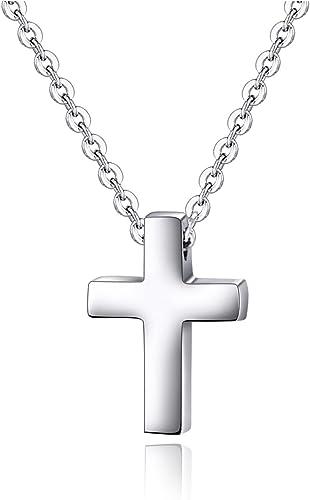 Collier en acier inoxydable avec petite croix pour enfants, garçons et filles