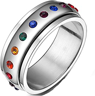 Jewelry Stainless Steel Cubic Zirconia Ring, Spins Rainbow Circle Band Ring, 8mm, Colorful